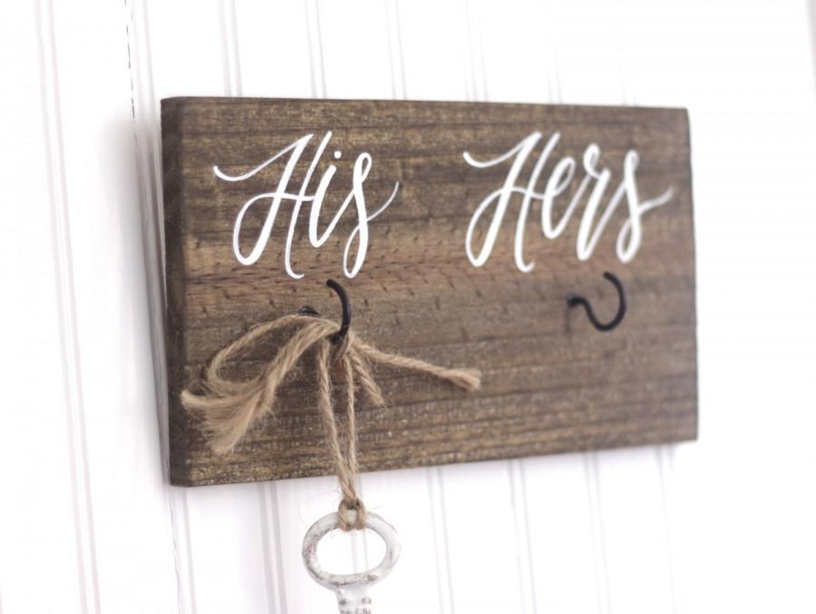 His And Hers Key Holder Sign Rustic Home Decor Housewarming Gift