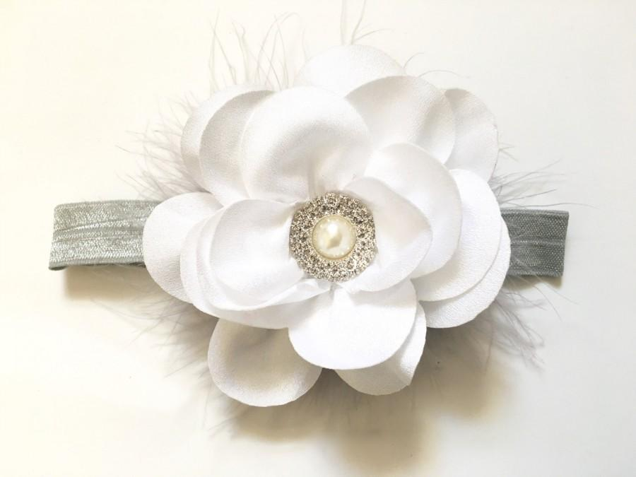 Mariage - Spring Headbands,Baby Headband, White Silver Grey Headband, Baptism Headband, Flower Girl Bridal White and Grey Headband, White Chiffon Bow