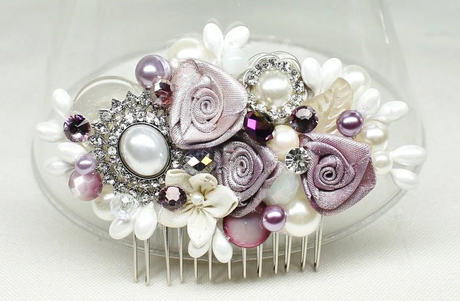Hochzeit - Purple Bridal Hair Comb- Bridal hairpiece- Eggplant Hair Accessory- Amethest Bridal Comb- Purple & Ivory Hair Comb- Wedding Hair Accessories