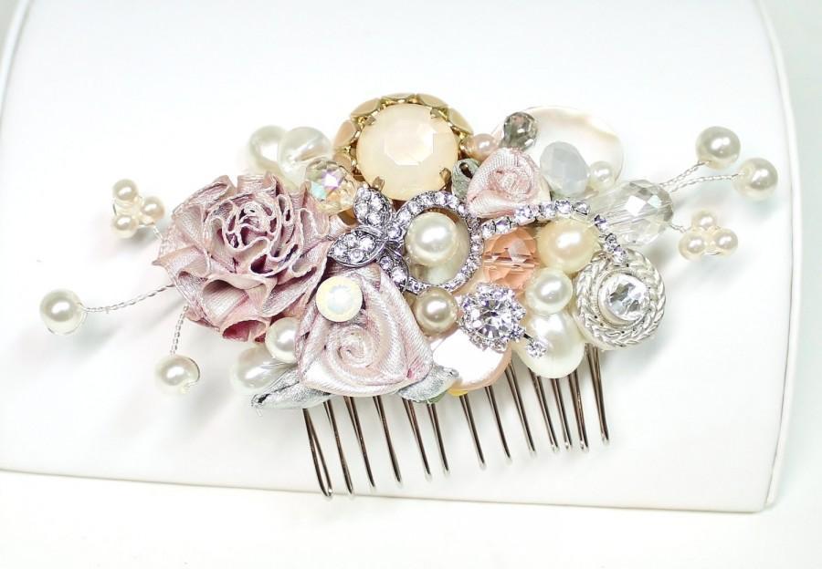 Hochzeit - Blush Bridal Comb -Vintage Bridal Hair Clip- Floral Wedding Hair Piece- Blush Wedding Hair Accessories-Champagne pink Hair comb-Brass Boheme