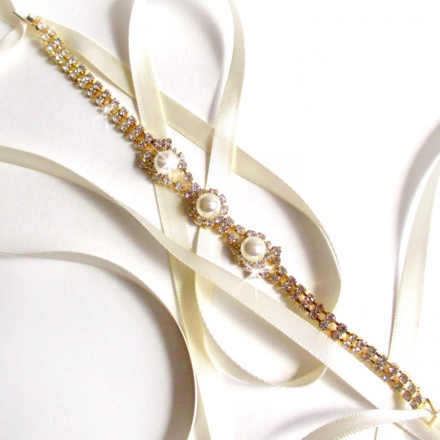 Hochzeit - Gold Rhinestone Ribbon Bridal Headband - White or Ivory Satin - Gold Crystal Pearl