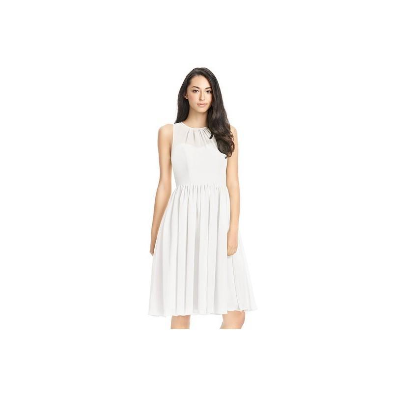 Wedding - Ivory Azazie Mckinley - Scoop Illusion Chiffon Knee Length Dress - The Various Bridesmaids Store