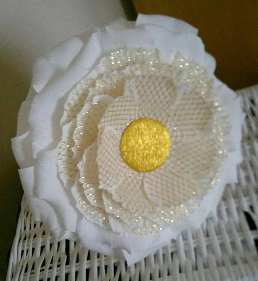 Свадьба - Wedding bridesmaid gift, Birthday gift flower, Giant flower Princess Gift, Birthday gift flower, Big flower black stem, White and gold