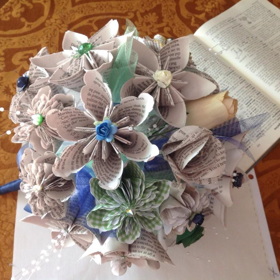 Book Page Paper Flower Wedding Bouquet 20 Handmade Flowers Using