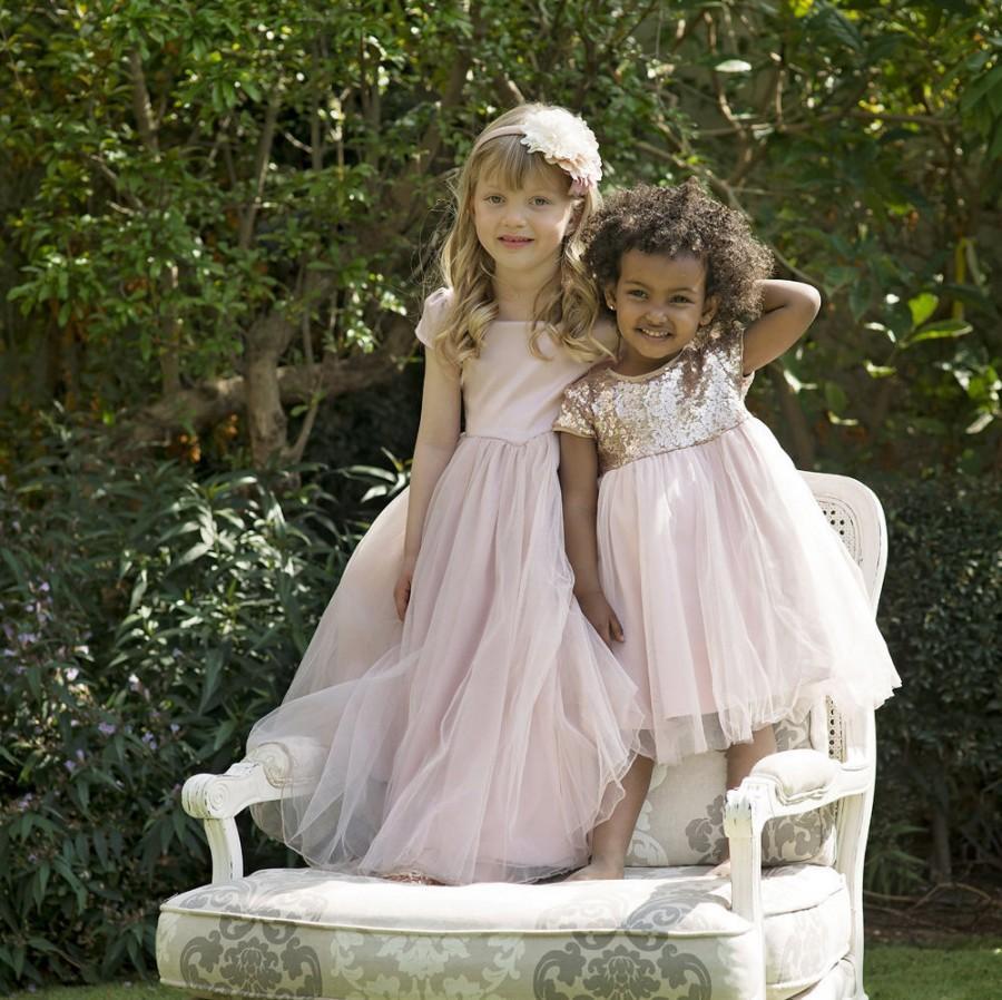 """Wedding - Sequin Flower Girl Dress Tulle Skirt -- The """"Qeturah"""" in Pink Dusk"""