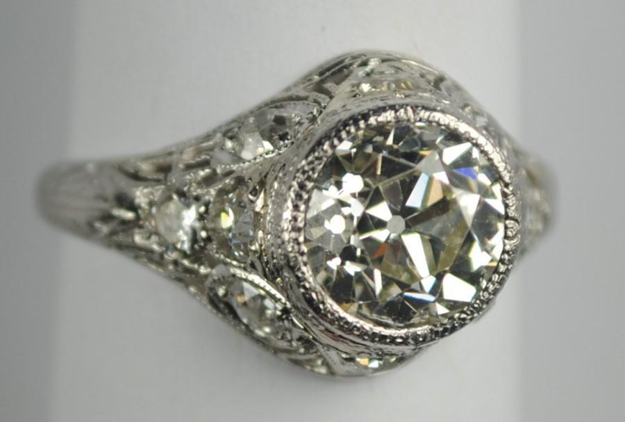 Свадьба - Art Deco Platinum & Diamond Engagement Ring 2.13 carats
