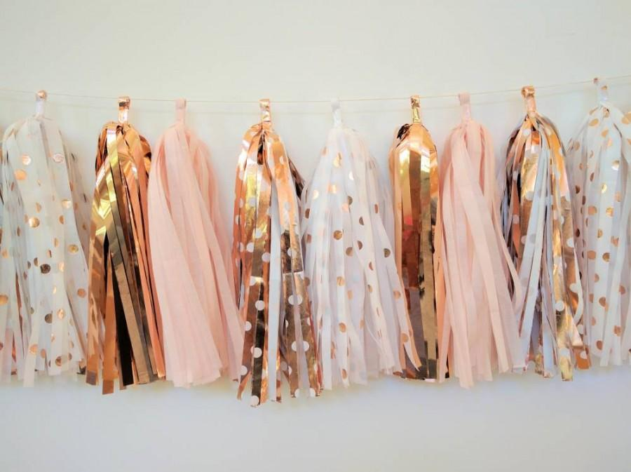 Rose gold wedding garland rose gold and blush tassel for Deco maison rose gold