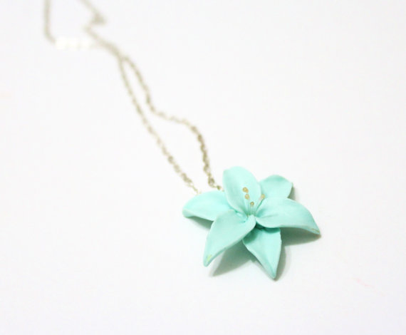 Hochzeit - Mint Lily flower necklace, delicate necklace for her gifts, Spring Jewelry, Wedding Jewelry Gift