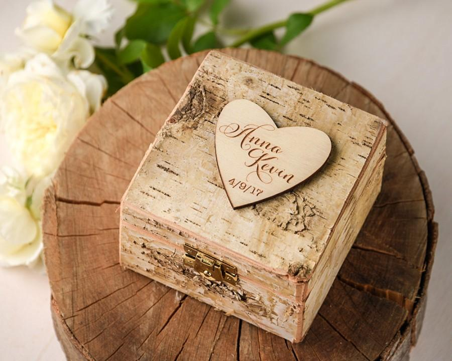 Rustic Wedding Ring Box Heart Brich Bark Box Engraved Wood Wedding
