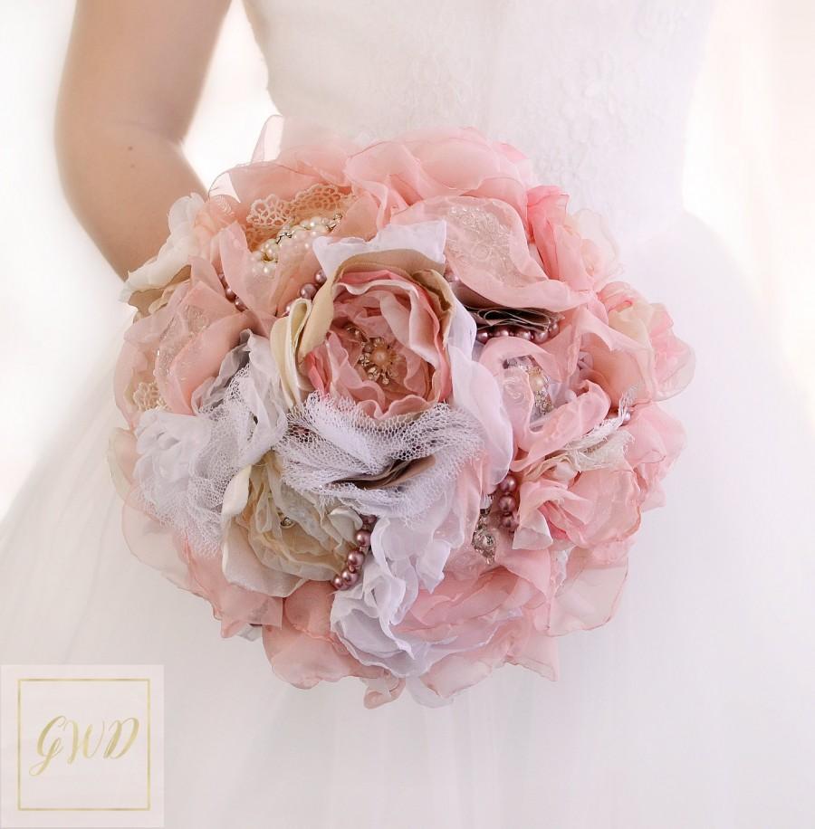 Свадьба - Brooch Bouquet Bridal Bouquet Wedding Bouquet Bridesmaids Bouquet Blush Pink Bouquet Fabric Flowers Bouquet Wedding Dress Custom Bouquet