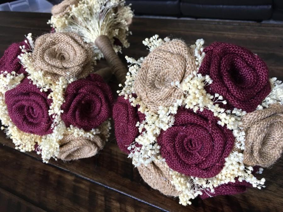 Burlap Bridesmaids Bouquets In Burgundy And Natural Burlap Wedding