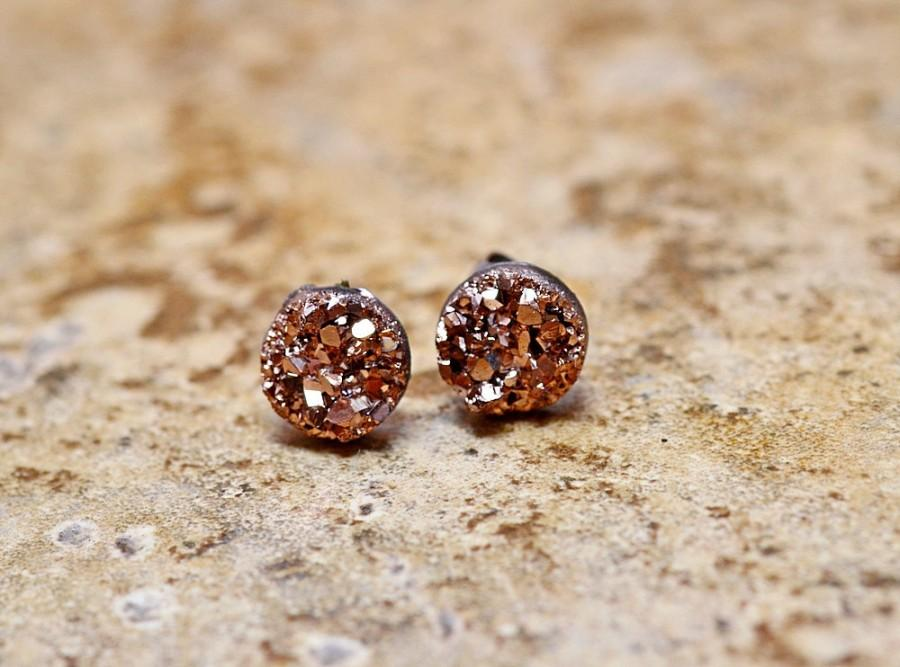 55e817f61 Tiny Rose Gold Druzy Earrings, 8mm Round Druzy Earrings Bronze Metallic  Glitter Faux Drusy Posts Glittering Gold Stainless Steel Studs