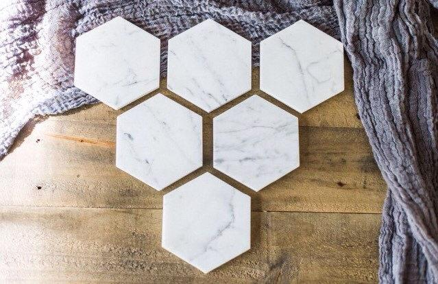 Boda - SALE // Six Marble Coasters // Hexagon Marble Coasters // Set of 6 //geometric coasters // geometric wedding favors