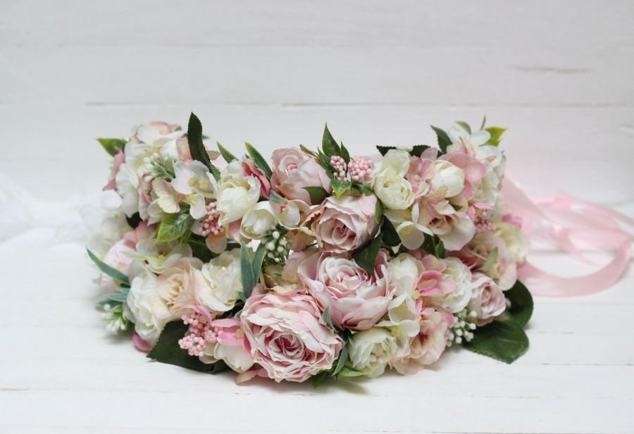 Hochzeit - Mommy and me flower crowns Flower crown set Floral headband Flower girl crown Bridal hair wreath Boho wedding Floral crown Photoprops