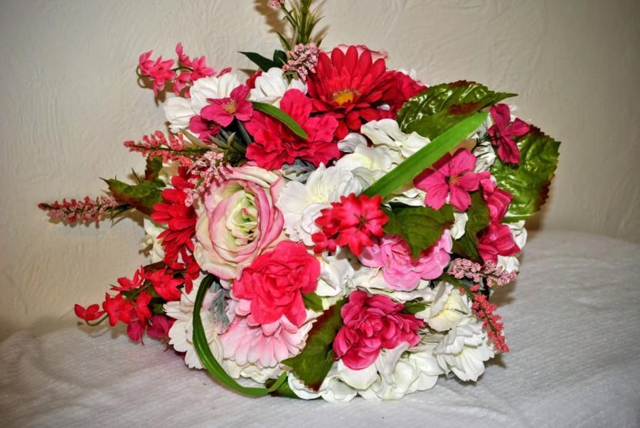 Wedding - PINK Wedding Bouquet - Formal Silk Bouquet - Silk Pink Bouquet - Elegant Bouquet - Formal Bouquet - White and Pink Bouquet - Wedding Bouquet