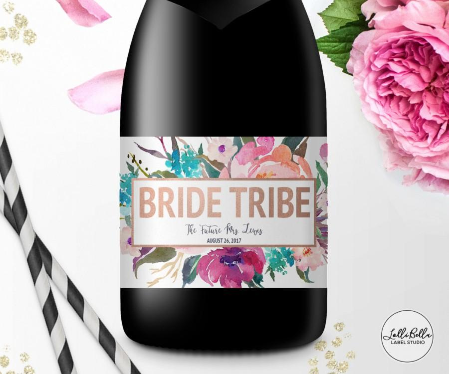 Hochzeit - Bride Tribe Mini Champagne label, Mini Wine Label, Bachelorette Party, Custom, Engagement Party, Bridesmaid Gift Ideas, Be My Bridesmaid