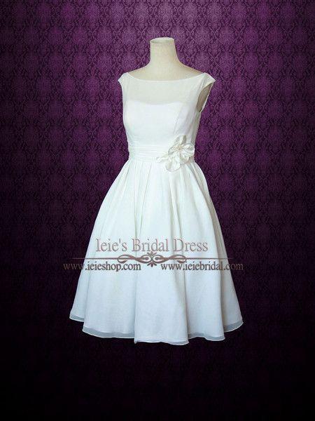 Mariage - Simple Yet Elegant Modest Retro 50s Knee Length Ivory Wedding Dress