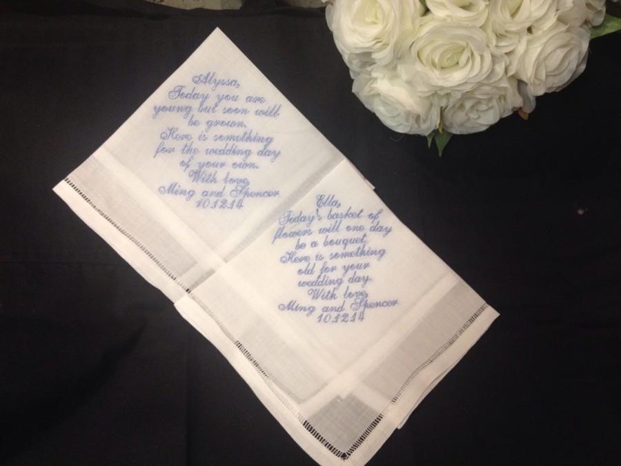Свадьба - Set of *3* Embroidered Ladies Bridal or Mens Wedding Handkerchief