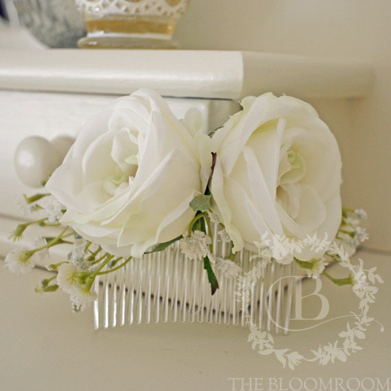 Mariage - Flower comb, handmade, made to order, silk flowers, white, baby's breath, rose blooms, clear plastic hair comb