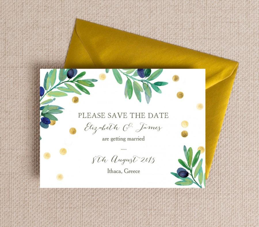 Mariage - Green & Gold Olive Wreath Wedding Save the Date cards or Magnets