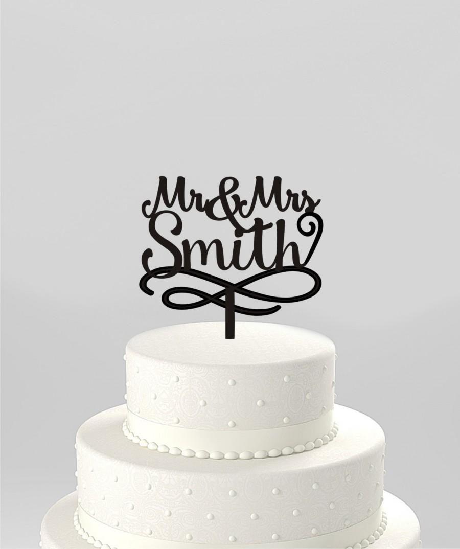 Wedding - Script Mr and Mrs Last Name Wedding Cake Topper, Personalized with Last Name, Elegant Custom Script, Acrylic Cake Topper [CT104mm]