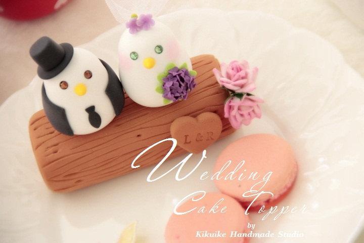 Wedding - love bird with branch Wedding Cake Topper (K351)