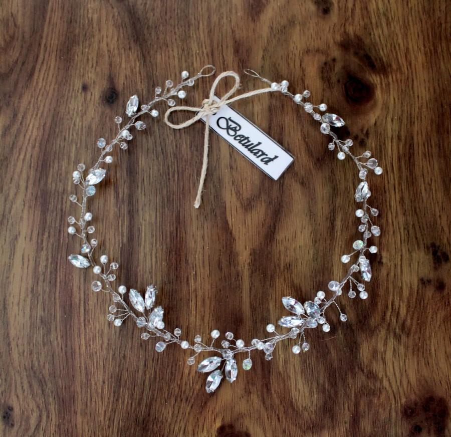 Hochzeit - Handmade Swarovski Bridal Cyrstal Hair Vine Tiara Floral Headband Headpiece