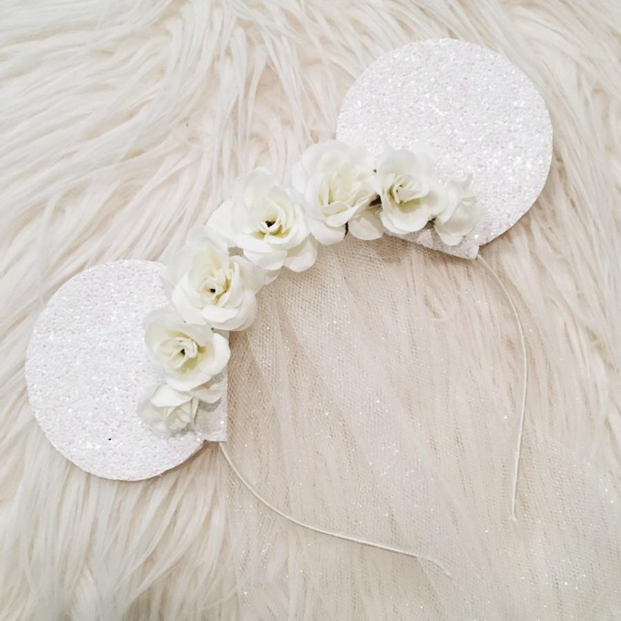 Bride Floral Glitter Minnie Mouse Ears with Tulle Veil    Disney Wedding  Inspired Mouse Ears 59dd4dcdf68