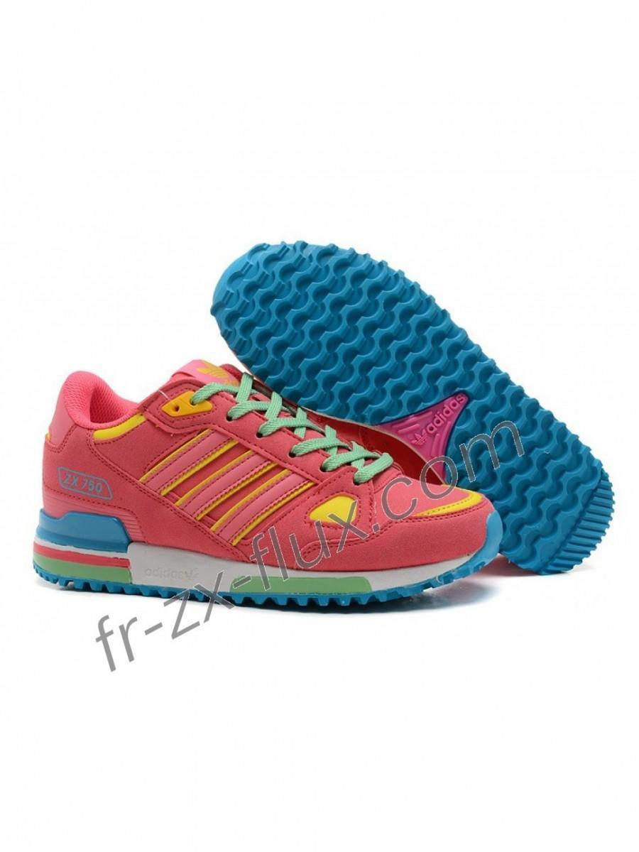 chaussures de sport 080f6 31371 Commandez En Ligne Adidas Zx 750 Femme Hyper Pink/Vert/Jaune ...