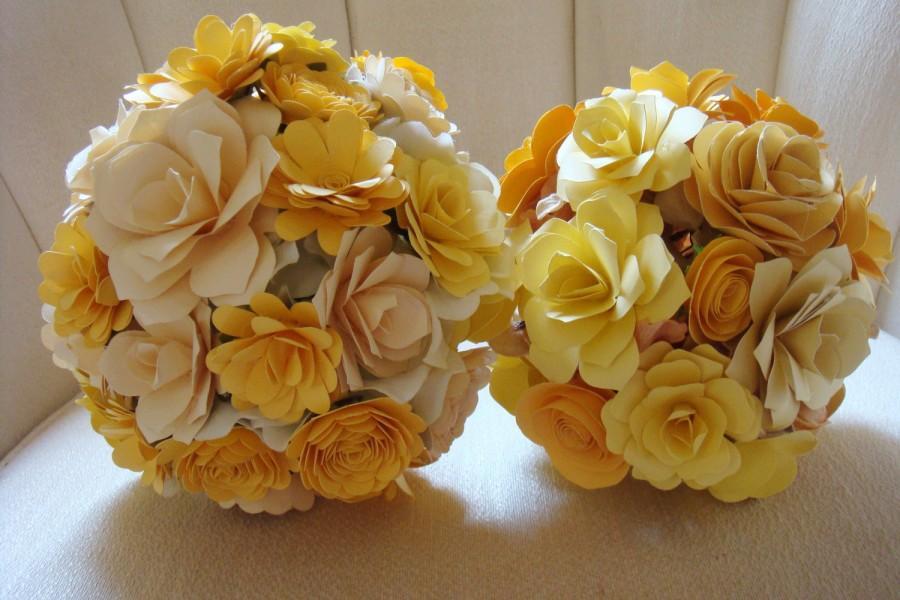 Wedding - Paper  Flower  Wedding Bouquet   Rehearsal bouquet Toss Bouquet