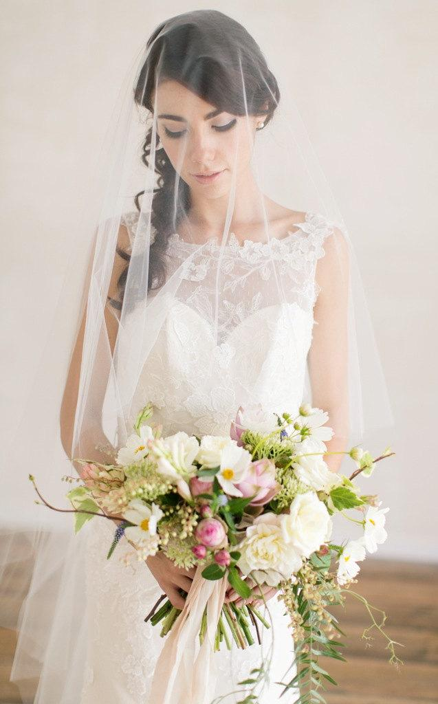Mariage - Bridal Veil, Chapel Veil with Blusher, Wedding Veil, Chapel Length Wedding Veil, Tulle Veil, Drop Veil,  Bridal Veil, Ivory Tulle Veil,