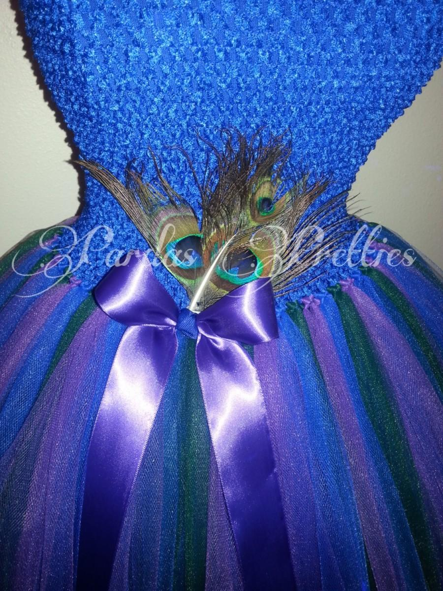7209bdca7 Peacock flower girl dress, purple, royal blue, hunter green! Layered tulle  tutu dress, peacock feathers, ribbon!