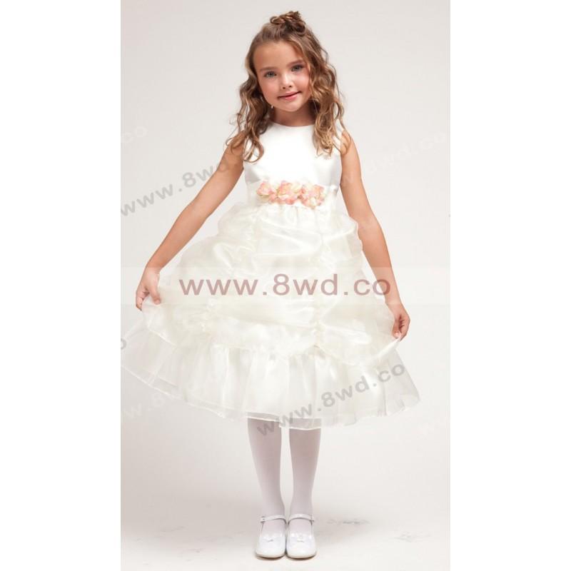 Mariage - 2017 A-line Bateau Sleeveless Knee-length Organza Flower Girl Dress  In Canada Flower Girl Dress Prices - dressosity.com