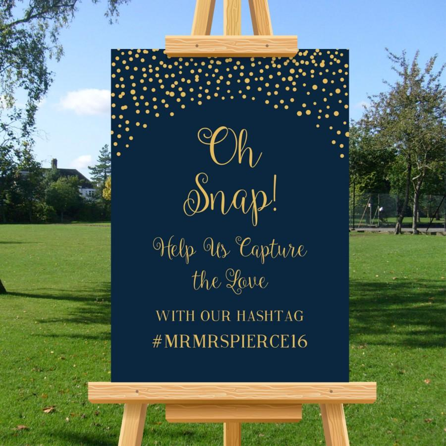 Mariage - Social Media Wedding Hashtag, Navy Blue, Gold Confetti, Nautical, Oh Snap Wedding Sign, Wedding Poster, DIY Printable