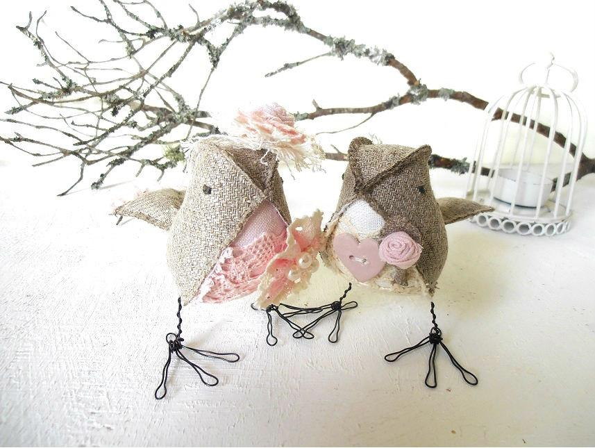 Mariage - Wedding Cake Topper Love Birds Fabric Soft Sculptures Rustic pink ivory gray Linen Burlap Shabby Chic
