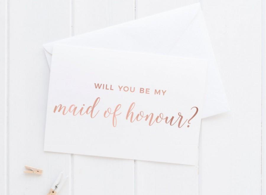 Wedding - PRE-ORDER** Will you be my maid of honour card // Rose Gold Will you be my maid of honour card // A6 rose gold foil