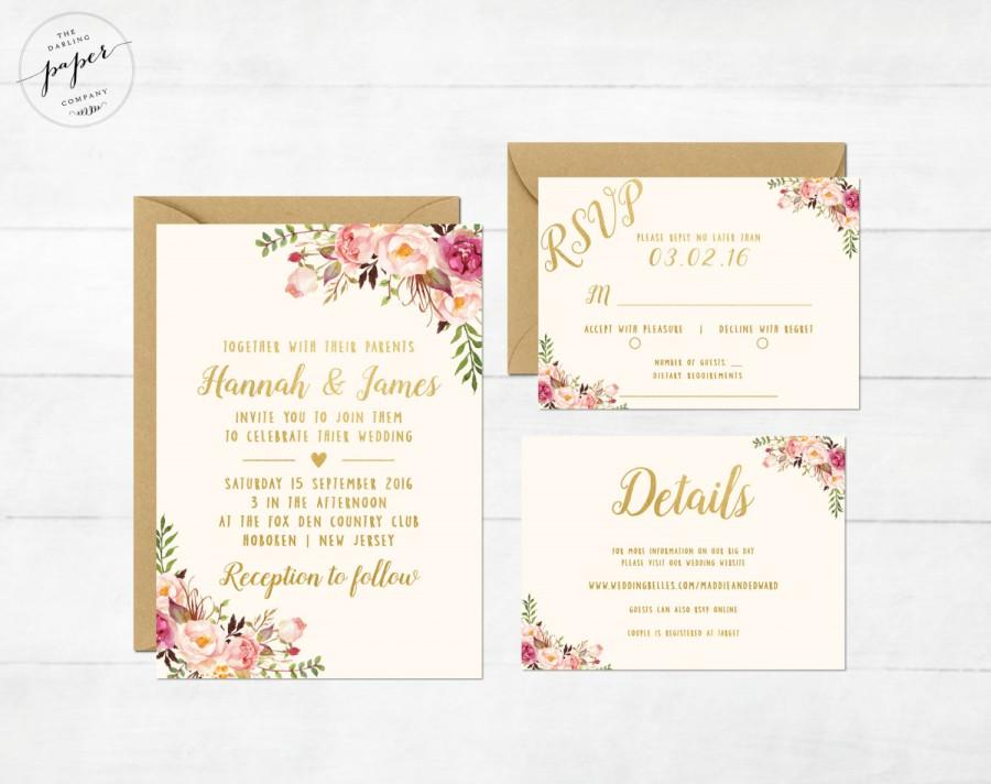 Düğün - Floral Wedding Invitation Printable Boho Wedding Invitation Suite Bohemian Wedding Invite Floral Spring Summer Wedding Peonies Collection