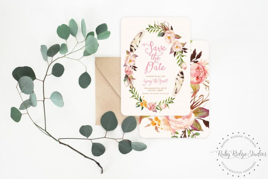 Hochzeit - Printable Save the Date, Bohemian Blush Watercolor Floral, Peonies, Pink and Gold, Floral Wreath, DIY Printable Invitations Save the Date