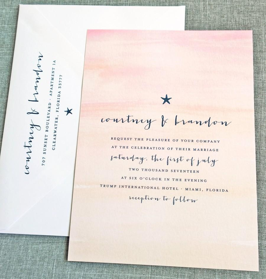 Courtney Watercolor Sunset Beach Wedding Invitation Sample   Destination  Pink And Peach Watercolor Starfish Beach Wedding Invitation