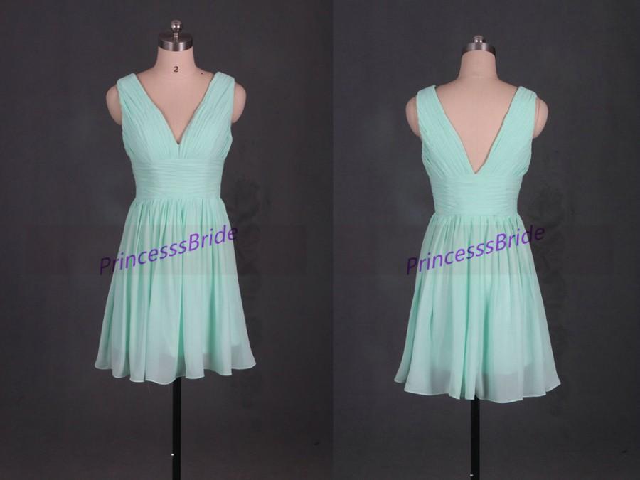 Свадьба - Short mint chiffon bridesmaid dresses,simple v-neck gowns for wedding party,2015 cheap women dress hot.