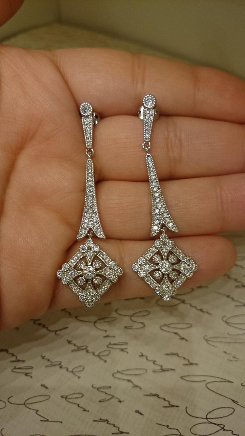 Art Deco Earring Vintage Style 1920 S Bridal Earrings Antique Silver Crystal Chandelier Great Gatsby Cz Downton Abbey