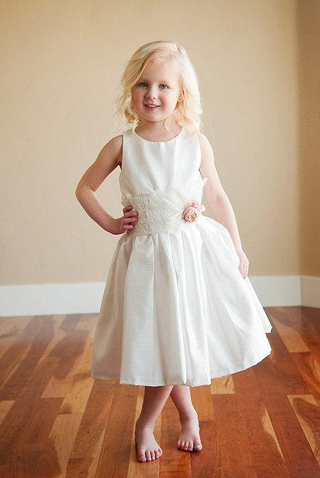 Wedding - Nottingham Lace: Flower girl dress for wedding  in cotton, silk or satin. 1920s flower girl dress. Bridesmaid dress. WORLD WIDE SHIPPING