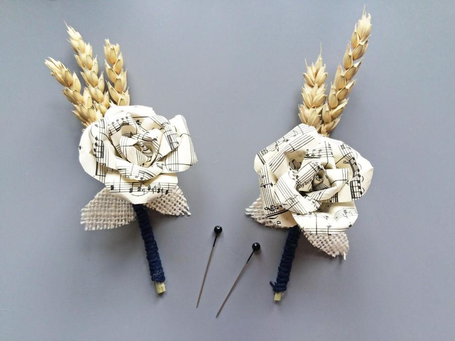 Mariage - Sheet Music and Wheat Buttonhole / Boutonniere Music Lovers / Mens Buttonholes / Paper Flower / Handmade Wedding Buttonhole / Musical Rose