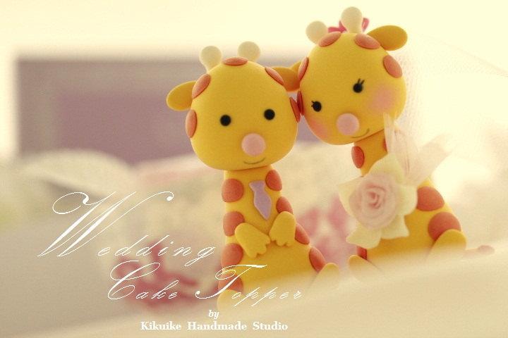 Mariage - giraffe Wedding Cake Topper---k784
