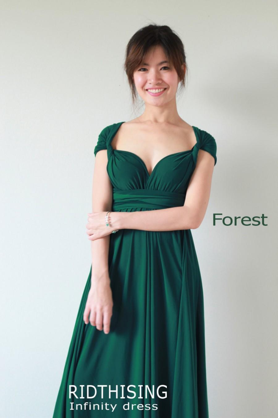 Wedding - Maxi Forest Green Bridesmaid Dress infinity Dress Prom Dress Convertible Dress Wrap Dress