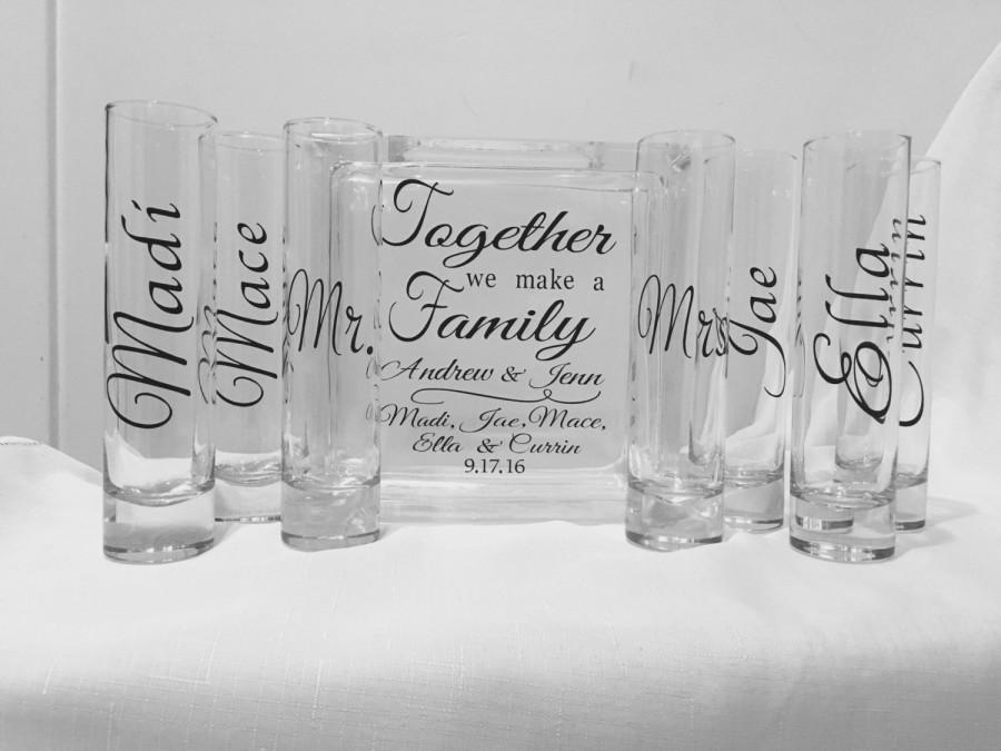 Family Blended Unity Sand Ceremony Glass Containers - Glass Block ...