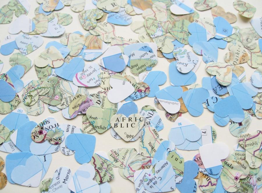 زفاف - 2000 Confetti Map Atlas Hearts - Wedding Travel Vintage Decor - Heart Die Cut, Wedding Favours