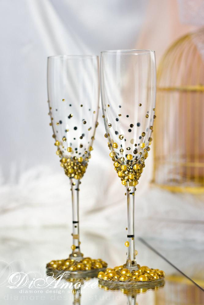 Personalized Champagne Glasses Gold Wedding Glasses Mr And Mrs