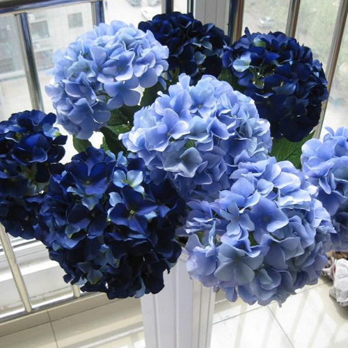 10 Pcs Silk Hydrangea Navy Blue Wedding Flowers Tall Table Centerpieces Home Decor Artificial