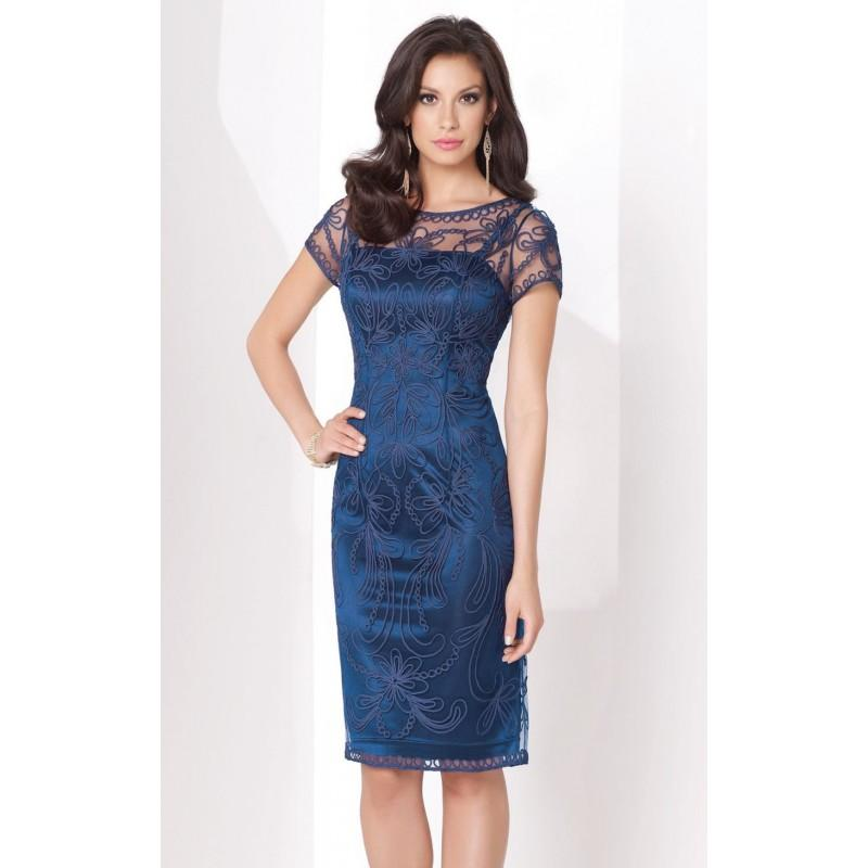 Wedding - Navy Blue Short Sleeved Dress by Social Occasions by Mon Cheri - Color Your Classy Wardrobe